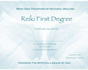 Reiki certificates | Etsy