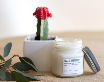 Black Raspberry Soy Candle in Mason Jar, Scented Soy Candles, Soy Candles Handmade, Mason Jar Candles, Vegan