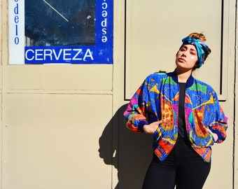 Blue Red and Yellow Patterned 80s Versace-Esque Bomber Jacket - Vintage