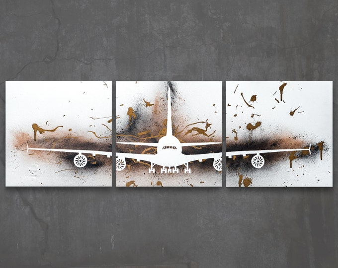airbus a380 // custom original painting // modern triptych // airplane art // metallic large wall art // bronze silhouette plane painting