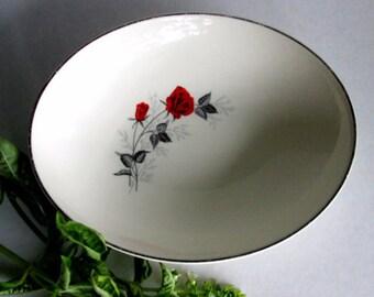 Vintage Rose Dinnerware, Floral Vegetable Bowl, Granny Chic Serving Bowl, Silver Colored Trim, Shabby Cottage Kitchen