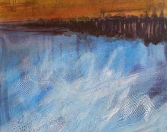 Abstract Original Painting Expressionistic Contemporary Modern Art Landscape Inspired by Nature - Stormy Skies III