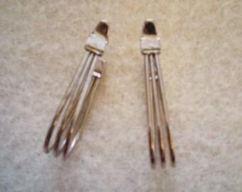Triple Strand  Silver Hoop Earrings