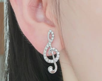 Treble clef earrings, music earrings, musical earrings, music note earrings, music-lover earrings, post back earrings, post backs