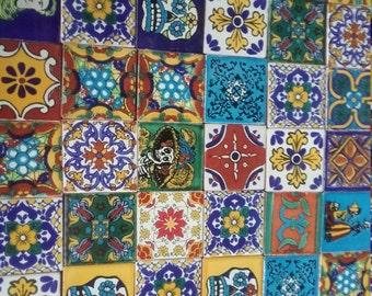MEXICAN TALAVERA TILES X 50 ( 5cm x 5cm each ) ( set B )