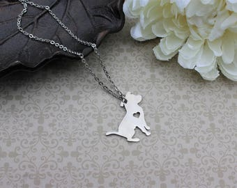 Pit bull necklace, pit bull lover gift, dog necklace, silver pit bull necklace heart, pit bull pendant