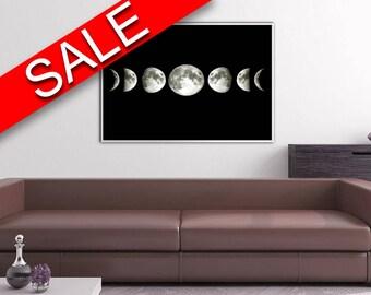 Copper Moon Print Moon Art Print Space Art Wall Decor Boho