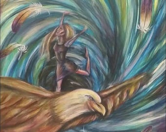 Dancing in the Whirlwind while Riding on Eagle wings - Print