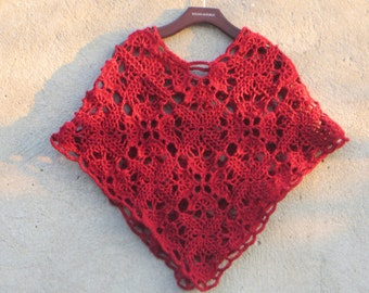 red and dark red crochet poncho,exclusive,stylish outerwear poncho.