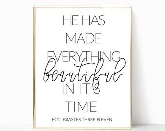 Ecclesiastes 3:11 printable, bible verse print, bible verse sign, wall art, wall decor, home decor, christian wall art, scripture print