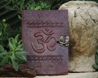 Leather Bound Journal - Engraved Leather Sketchbook Om Symbol - Leather Notebook Bronze closure