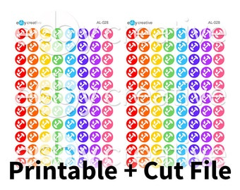 Workout Rainbow Dots - Printable Planner Stickers + Cut File - AL-028 - INSTANT DOWNLOAD