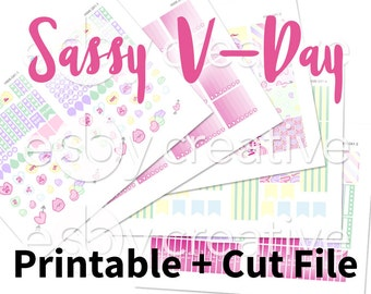 Sassy Valentines Candy Hearts Theme - Weekly Sticker Kit Printable for Erin Condren Horizontal - HWK-041 - INSTANT DOWNLOAD