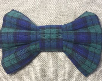 Child's blackwatch tartan bow tie, boy's blue and green tartan bow tie.