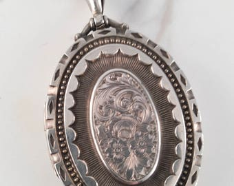 Antique English Sterling Silver Engraved Locket with Chain