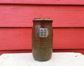 Copper Corked Jar with Attached Clay Tree Stamp