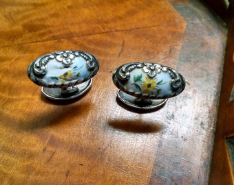 Victorian Sterling Cufflinks, Victorian Cufflinks, Hand Painted Poured Glass Flowers, Antique Cufflinks