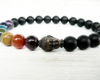 Buddha bracelet for men gift for him Black bracelet Buddah bracelet for boyfrieng gift Yoga jewelry Yoga gift for mens 7 chakra bracelet