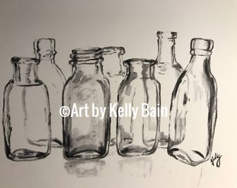 Glass bottles in black and white