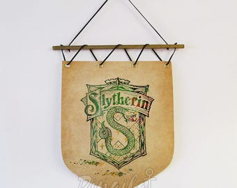 House Slytherin banner Harry Potter Hogwarts house watercolor Flag Wall Hanging Home decor Slytherin Watercolor Wall Decor Birthday gift