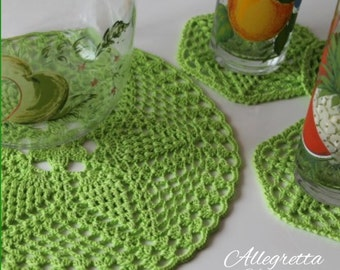 Colored Doily with coasters   Crochet coaster Boho favors Home Decor Housewarming gift