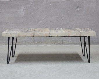 Reclaimed Wood Coffee Table with Steel Hairpin Legs (EastWest)