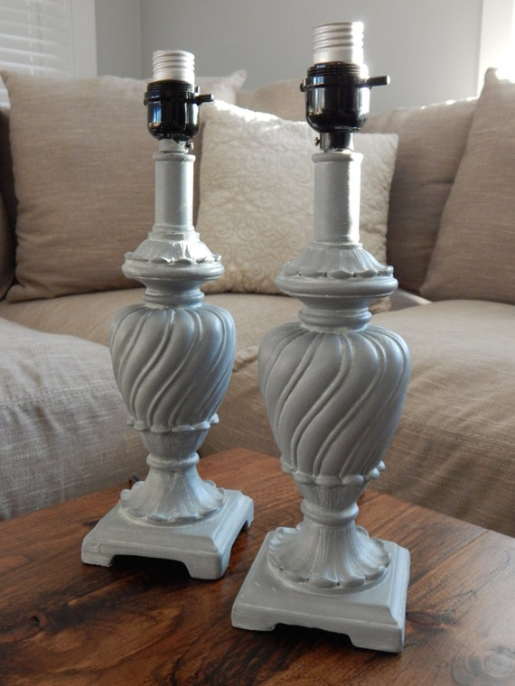 Grey Bedside Chalk Paint Lamps Set Of Two Table Lamps Lamp