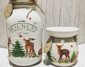 SET - Hand decorated jar and matching oil burner