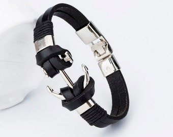 Mens Womens black leather bracelet, Charm bracelet, Black bracelet, Cute bangle bracelet, Anchor charm bracelet, Cheap bracelet, Nice cute
