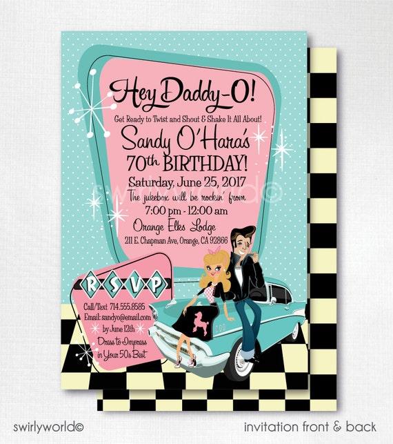 Retro 1950s birthday party 50s rockabilly invites grease like this item stopboris Choice Image