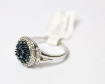 0.50ctw Round Blue Diamond 925 Sterling Silver Ring Size 7