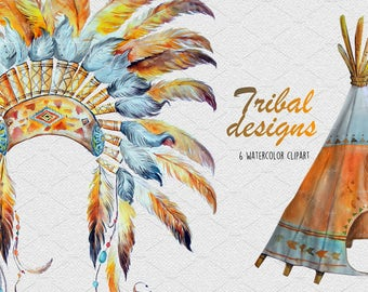 SALE - Watercolor Tribal Designs,WeddingTeepee,Kids Teepee, Chief, Headress Clipart Images