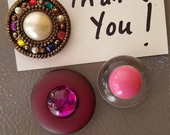 Refrigerator Magnet Bling from reclaimed clip on earrings ...3 for 5.00