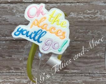 Embroidered Oh The Places You'll Go Headband / Girls Hair Accessory / Girls Headband / Yellow Satin Headband