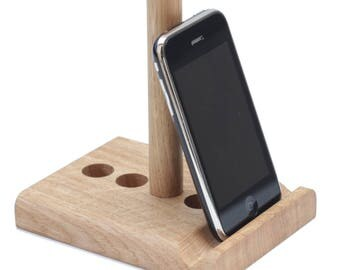 Tablet stand and Phone stand //Adjustable// Universal// iPad, Kindle// kitchen, desktop, bed// iPhone any phone // Leanii natural oak