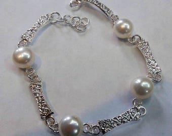 bracelet, 925 sterling silver, natural pearls