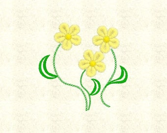 3 Simple Flowers Floral Machine Embroidery Design Pattern File - Fits 4x4 Hoop - MULTIPLE FORMATS - Instant Download