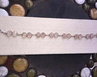 Silver and rose quartz bracelet