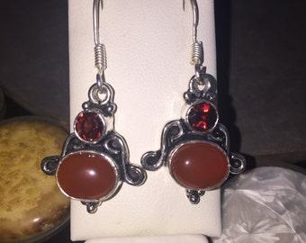 Red onyx and garnet earrings