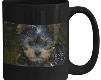 Coffee Mug! I LOVE YOU!! Terrier Pup! Cute Photograph of Adorable Terrier Puppy Adorns 15 oz Black Ceramic Coffee Cup!