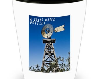 TEXAS 'Water Bottle' Windmill - Lone Star State Pride on Cool Ceramic Shot Glass Makes a Perfect Gift for The Texan in Your Life!