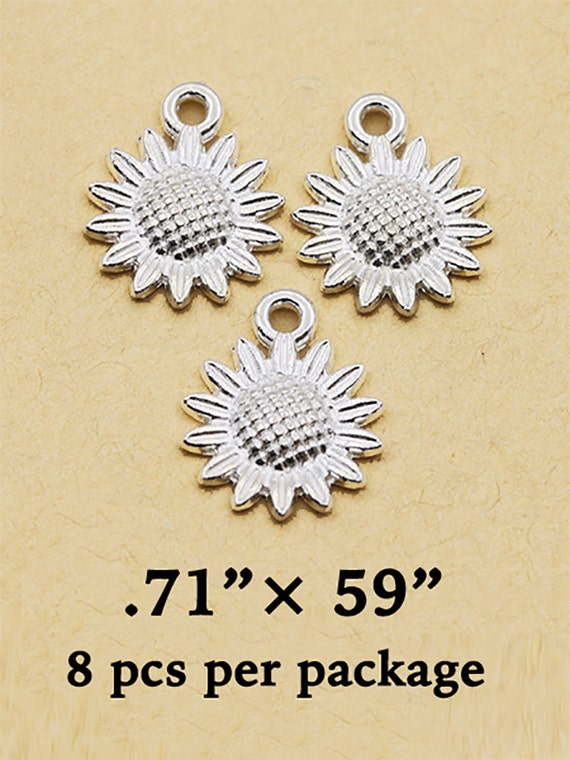 SunFlower Charms, 10 pcs  **99cent Shipping -FREE 10+**