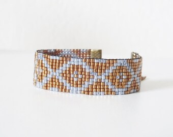 BRACELET WOVEN copper and blue gray reflections
