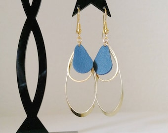 Earrings triple drop peacock blue leather and brass