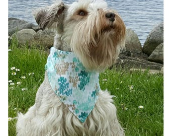 Trendy Dog Bandana, Boho Dog Bandana, Summer Dog Bandana, Reversible Bandana, Teal, Mint, Bandanna, Spring, Girl Dog, Scarf, Puppy Bandana