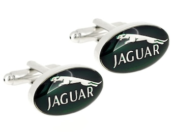 Jaguar Cufflinks - Green & Silver Jag Cufflinks in a Luxury Gift Box