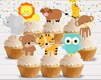 Zoo Animals Cupcake Toppers, Zafari Cupcake Toppers, Zoo Party, Baby Shower, Animal Party, AnimalPrint, 8 Toppers