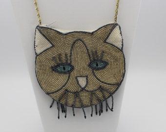 Beaded Cat Evening Bag