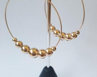 Rose gold filled balls hoop earrings/14k yellow gold filled balls hoop earrings/925 sterling silver balls hoop earrings/ball hoop earrings