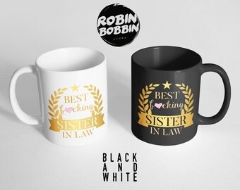 Sister in law gift etsy best fcking sister in law black and white muggift sister in negle Gallery
